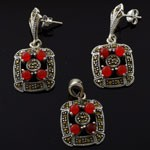 Natural Coral with Marcasite 925 Sterling Silver Dangling Glitzy Jewelry Set