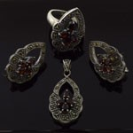 Natural Garnet with Marcasite 925 Sterling Silver Dangling Jewelry Set