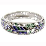 925 Sterling Silver Art Bangle With Enamelled