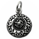 Circle Style Design 925 Sterling Silver Plain Oxidized Pendant