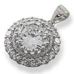 Round Desgin 925 Sterling Silver Sparkling White CZ Pendant