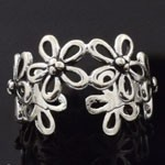925 Sterling Silver Plain Flower Design Oxidized Ring