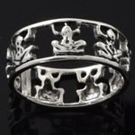 925 Sterling Silver Plain Monkey Design Oxidized Ring