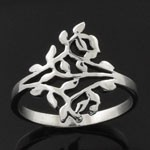 925 Sterling Silver Plain Leaves Design Oxidized Ring