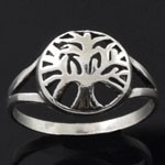 925 Sterling Silver Plain Tree of Life Symbol Style  Oxidized Ring