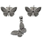 Butterfly Design 925 Sterling Silver White CZ Jewelry  Set