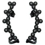 5 Tiny Round Design White CZ 925 Silver Black Rhodium  Chandelier Earrings