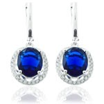 925 Sterling Silver Micro wax Setting Blue and White CZ Hoop Earring