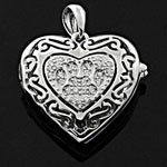 Puffed Heart Shaped Medallion White CZ 925 Sterling Silver Locket Pendant