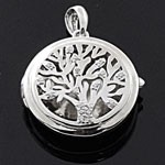 Tree of Life Symbol Shaped front and Filigree back White CZ 925 Sterling Silver Locket Pendant