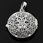 Star Shaped front and Filigree back White CZ 925 Sterling Silver Locket Pendant