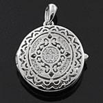 Oval Shaped Medallion Multi White CZ 925 Sterling Silver Locket Pendant