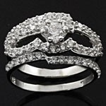 Twinkling Two-in-One Round Cut White CZ 925 Sterling Silver Wedding Ring Set