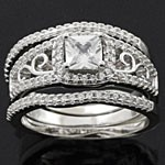 Twinkling Three-in-One Round Cut White CZ 925 Sterling Silver Wedding Ring Set