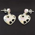 925 Sterling Silver Heart Design Enamel style Earring