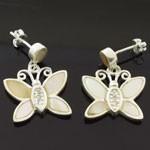 925 Sterling Silver Butterfly Design  Enamel style Earring