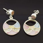 925 Sterling Silver Round Design  Enamel style Earring