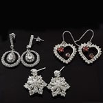 MIX Design and Mix Shape CZ Hook and Stud Silver Earring Lot
