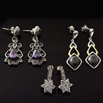 MIX Design and Mix Shape CZ Stud Silver Earring Lot