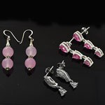 MIX Design and Mix Color CZ Hook and Stud Silver Earring Lot