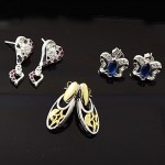 MIX Design and Mix Color CZ Stud Silver Earring Lot