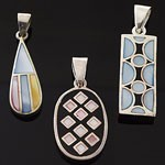 MIX Design and  Mix Mother of Pearl CZ 925 Sterling Silver  Pendant Lot