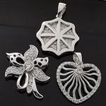 MIX Design White CZ 925 Sterling Silver Pendant Lot