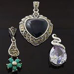 MIX Design and Mix Color Stone CZ 925 Sterling Silver  Pendant Lot