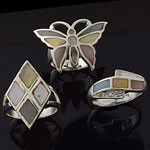 MIX Design and  Mix Mother of Pearl CZ 925 Sterling Silver  Ring Lot